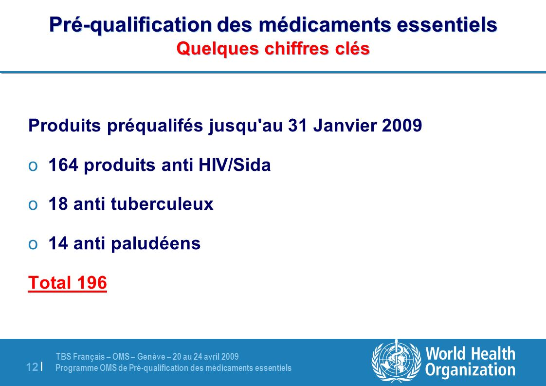 Pré-qualification des médicaments essentiels Quelques chiffres clés