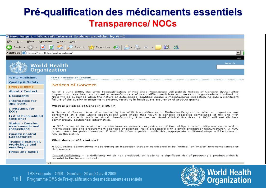 Pré-qualification des médicaments essentiels Transparence/ NOCs