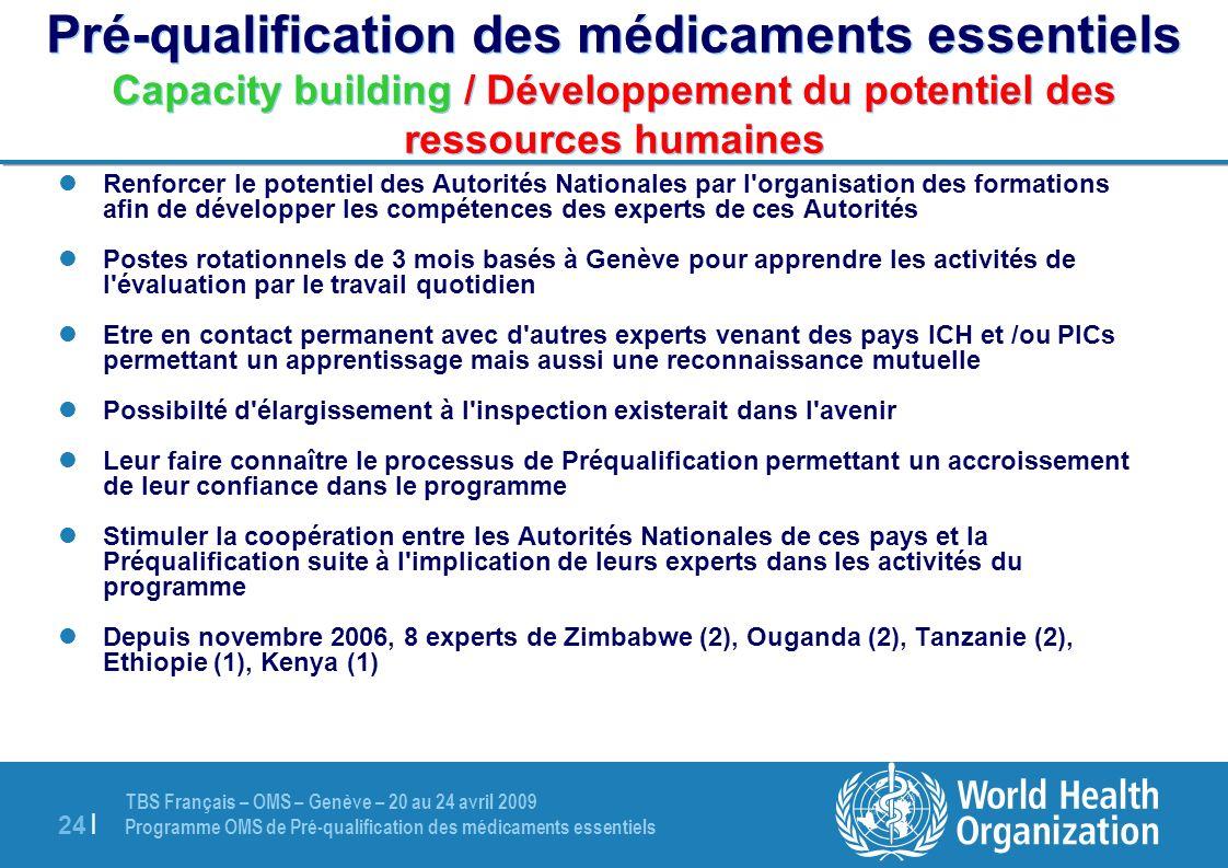 Pré-qualification des médicaments essentiels Capacity building / Développement du potentiel des ressources humaines