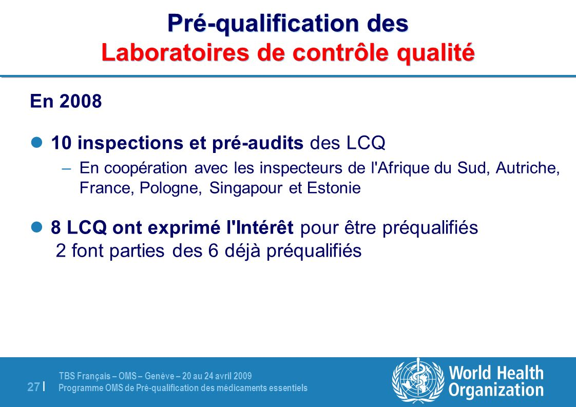 Pré-qualification des Laboratoires de contrôle qualité
