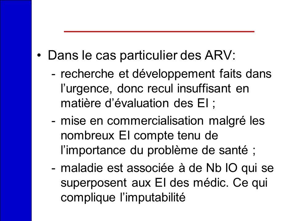 Dans le cas particulier des ARV: