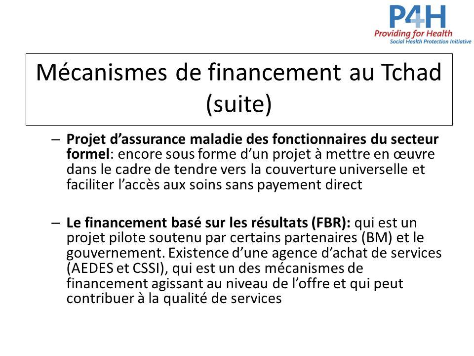 Mécanismes de financement au Tchad (suite)
