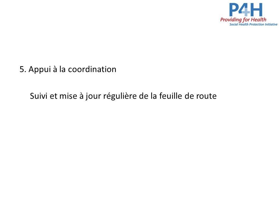 5. Appui à la coordination Suivi et mise à jour régulière de la feuille de route