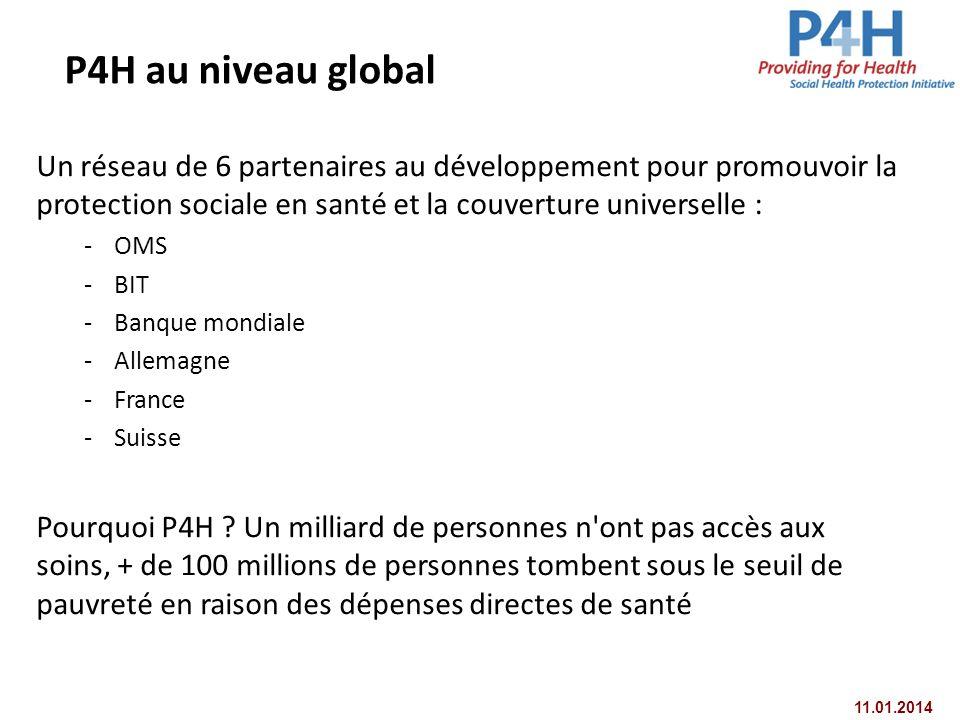 P4H au niveau global Un réseau de 6 partenaires au développement pour promouvoir la protection sociale en santé et la couverture universelle :