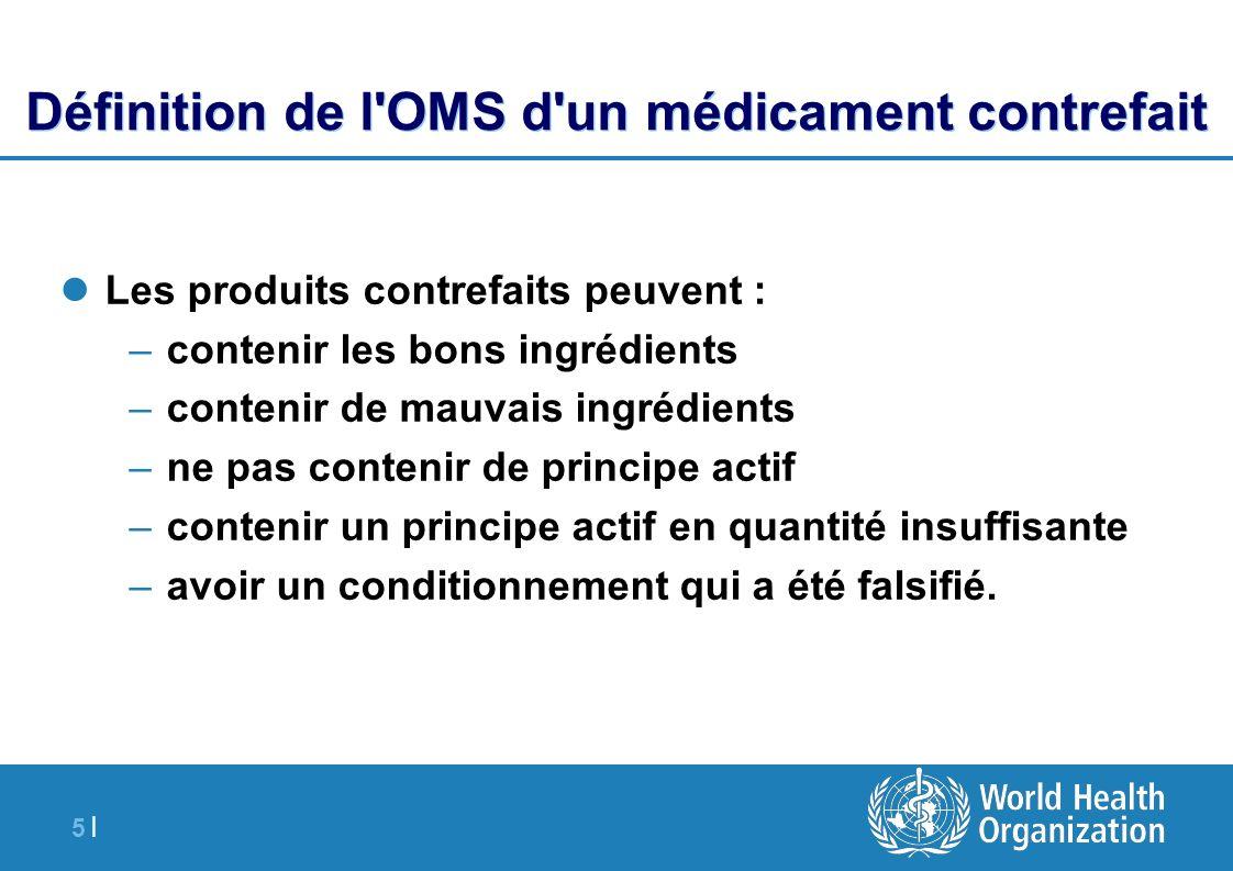 Définition de l OMS d un médicament contrefait