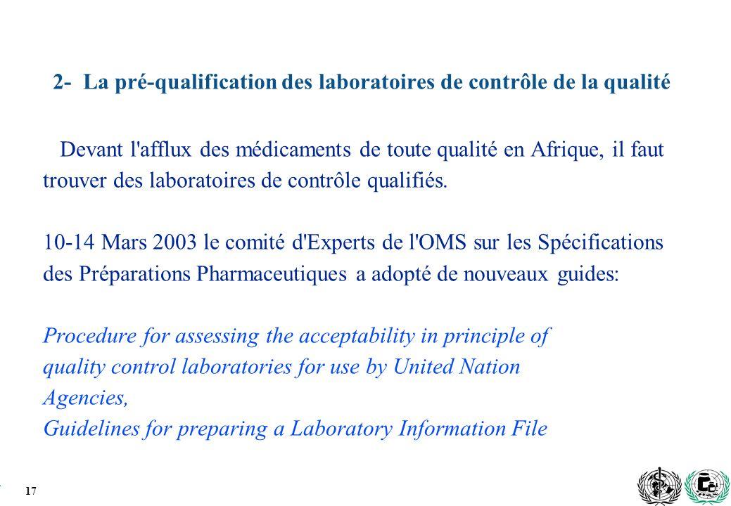 2- La pré-qualification des laboratoires de contrôle de la qualité