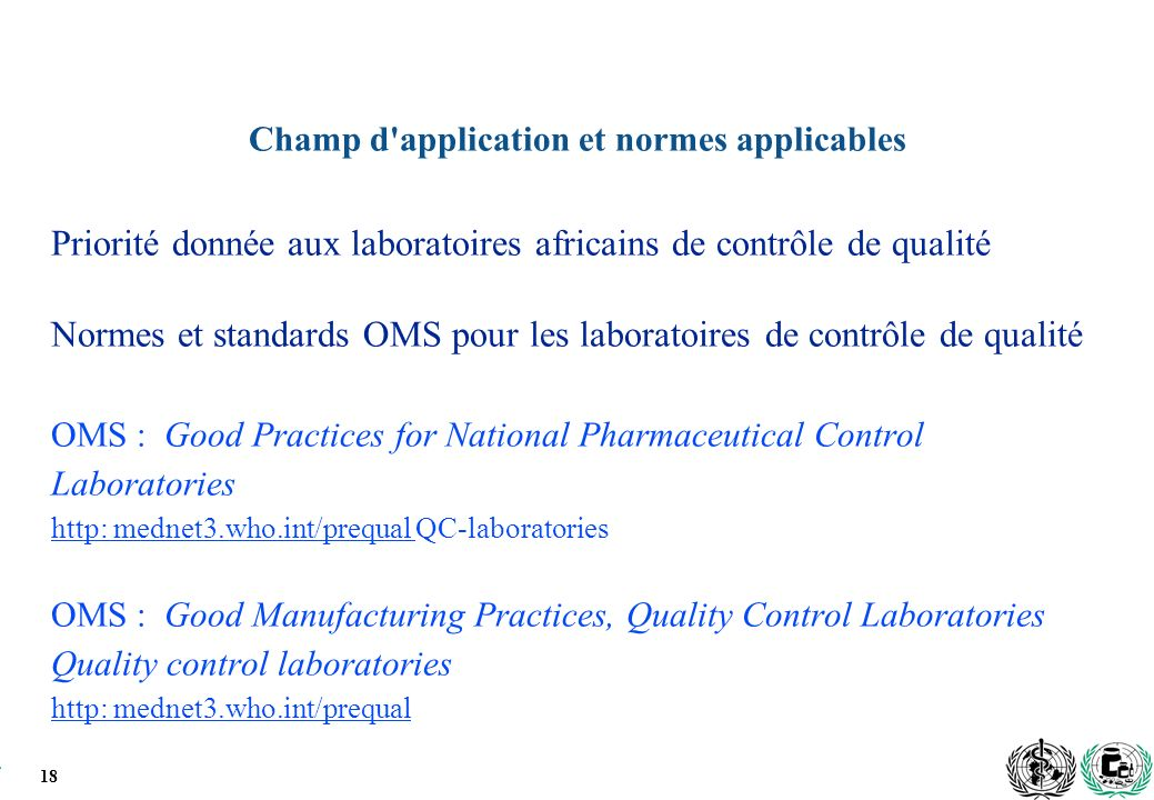 Champ d application et normes applicables