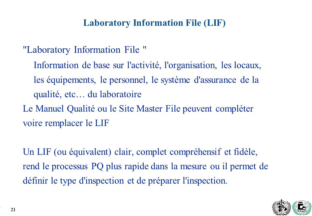 Laboratory Information File (LIF)