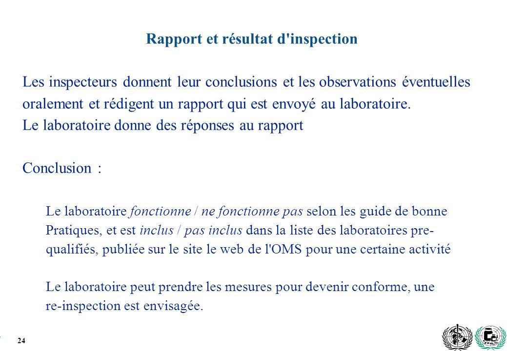 Rapport et résultat d inspection