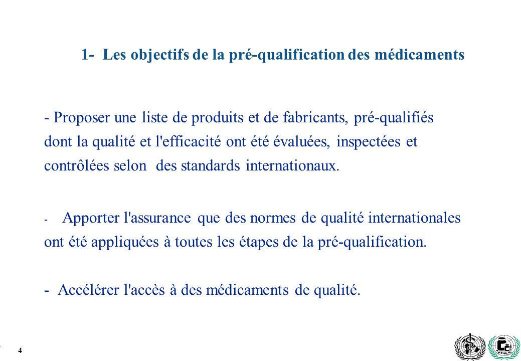 1- Les objectifs de la pré-qualification des médicaments