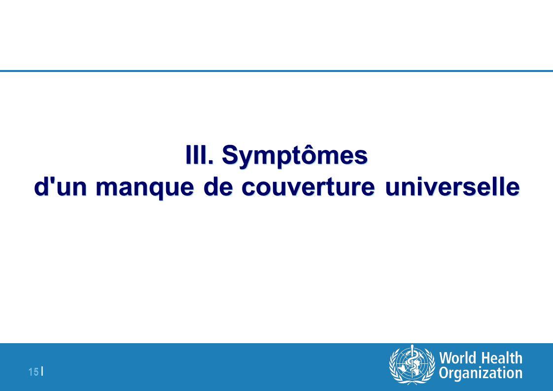 III. Symptômes d un manque de couverture universelle