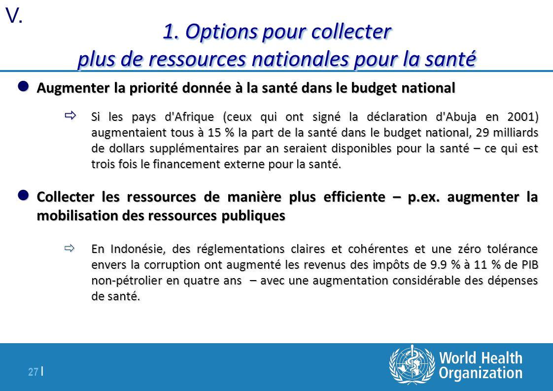 1. Options pour collecter plus de ressources nationales pour la santé