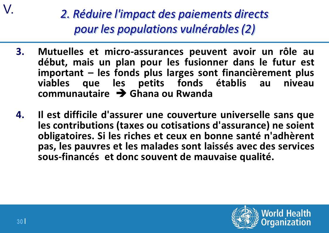 2. Réduire l impact des paiements directs pour les populations vulnérables (2)