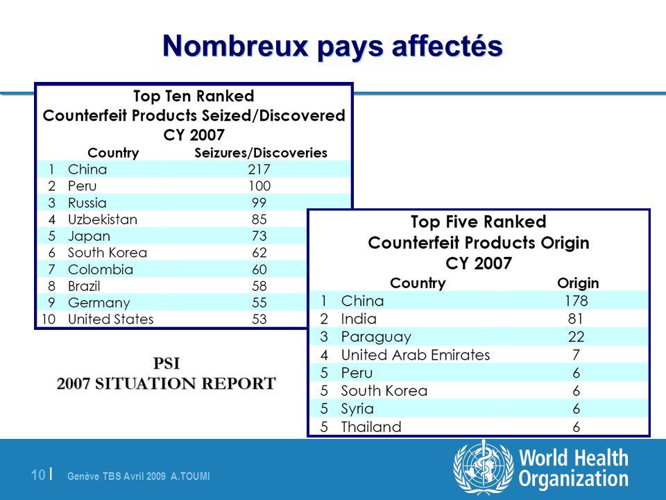 Nombreux pays affectés