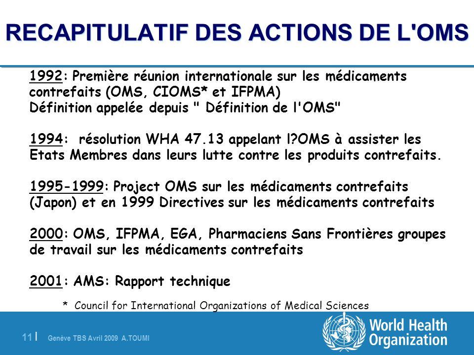 RECAPITULATIF DES ACTIONS DE L OMS