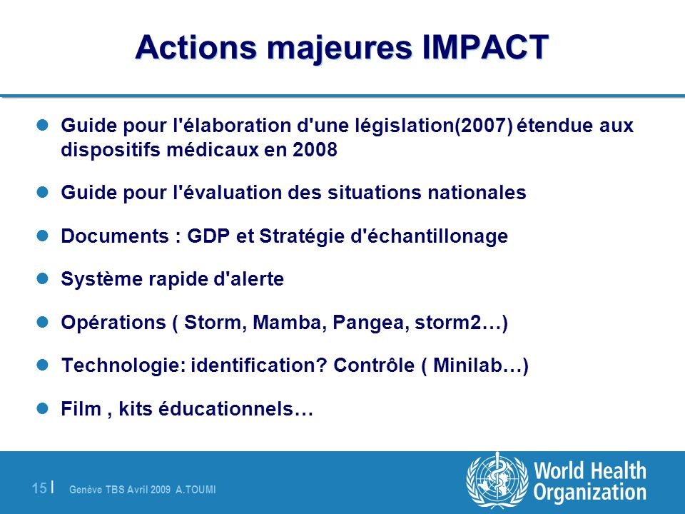 Actions majeures IMPACT