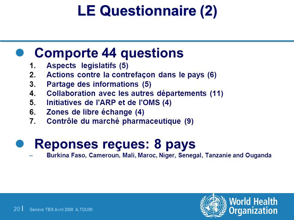LE Questionnaire (2) Comporte 44 questions Reponses reçues: 8 pays