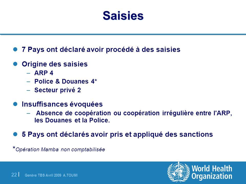 Saisies 7 Pays ont déclaré avoir procédé à des saisies