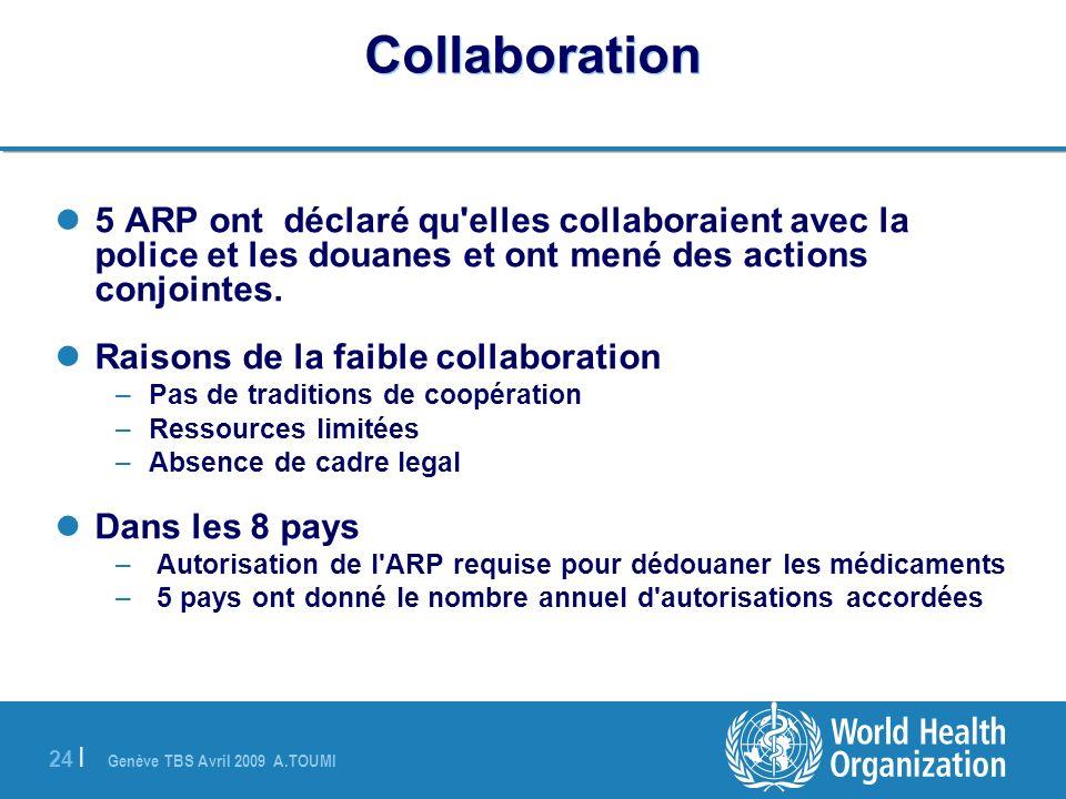 Collaboration 5 ARP ont déclaré qu elles collaboraient avec la police et les douanes et ont mené des actions conjointes.
