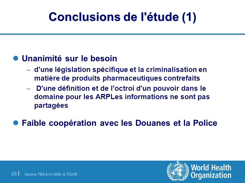 Conclusions de l étude (1)