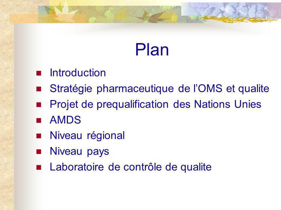 Plan Introduction Stratégie pharmaceutique de l'OMS et qualite