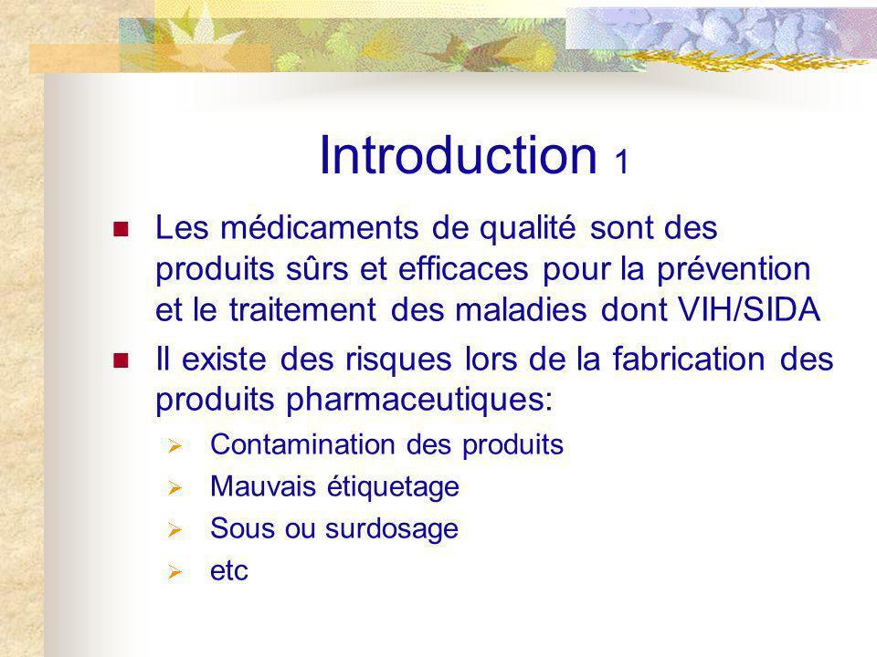 Introduction 1 Les médicaments de qualité sont des produits sûrs et efficaces pour la prévention et le traitement des maladies dont VIH/SIDA.
