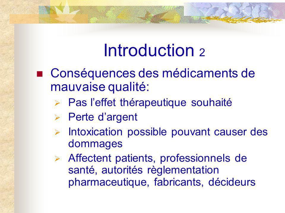 Introduction 2 Conséquences des médicaments de mauvaise qualité: