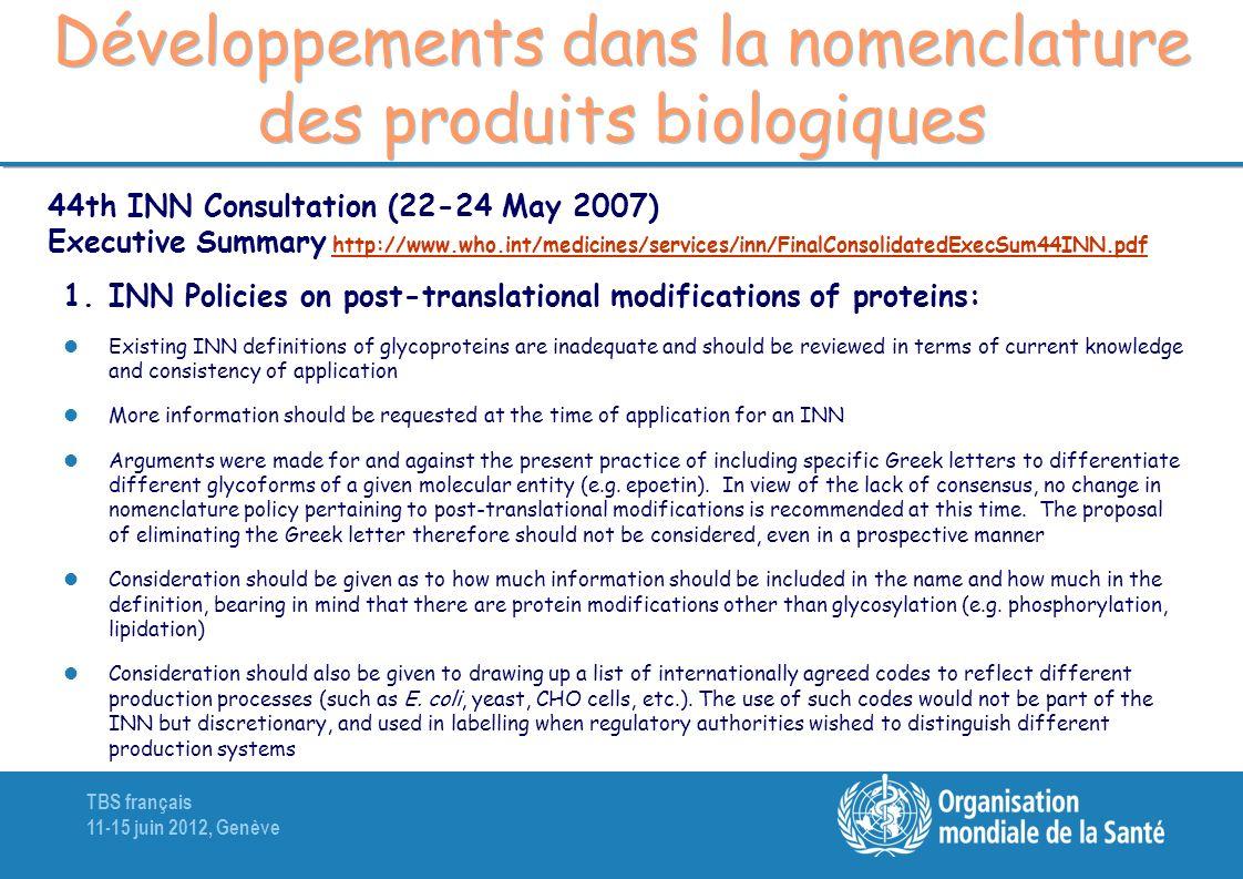 Développements dans la nomenclature des produits biologiques