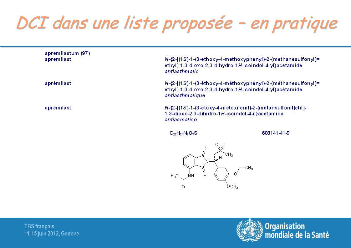 DCI dans une liste proposée – en pratique