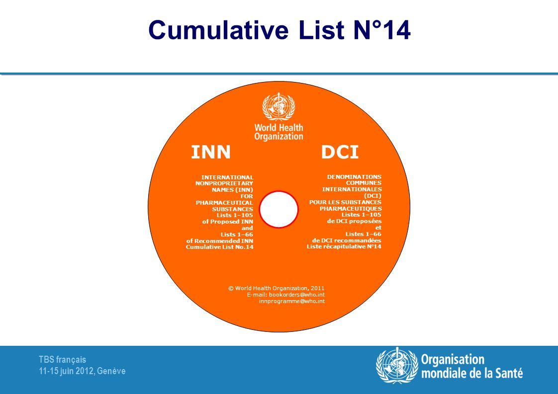 Cumulative List N°14 DCI INN DENOMINATIONS COMMUNES INTERNATIONALES