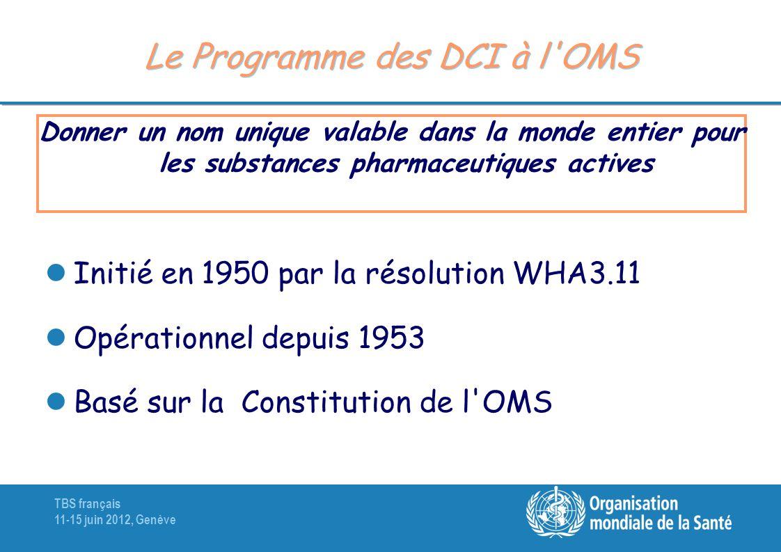 Le Programme des DCI à l OMS
