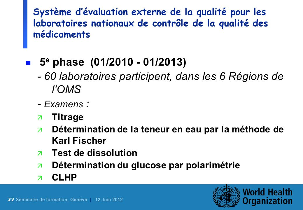 - 60 laboratoires participent, dans les 6 Régions de l'OMS - Examens :