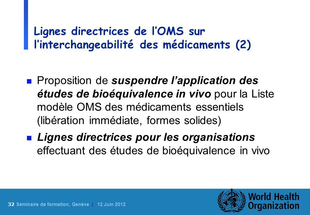 Lignes directrices de l'OMS sur l'interchangeabilité des médicaments (2)