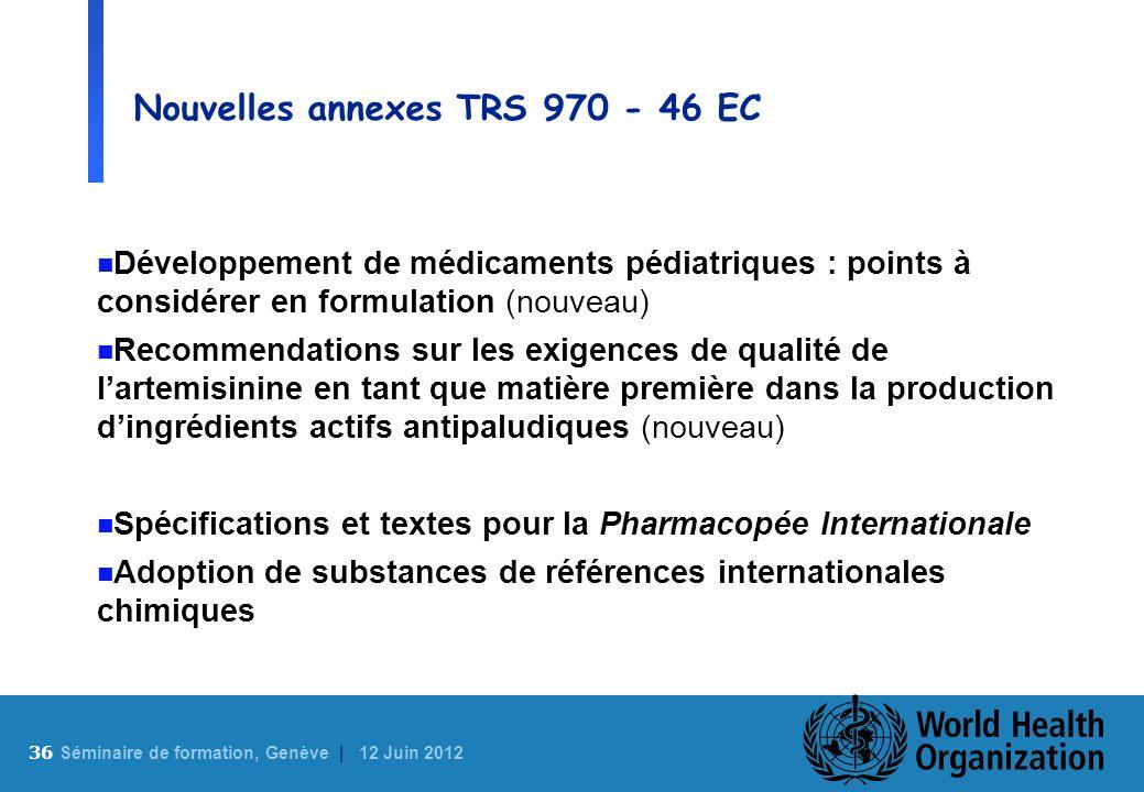 Nouvelles annexes TRS 970 - 46 EC