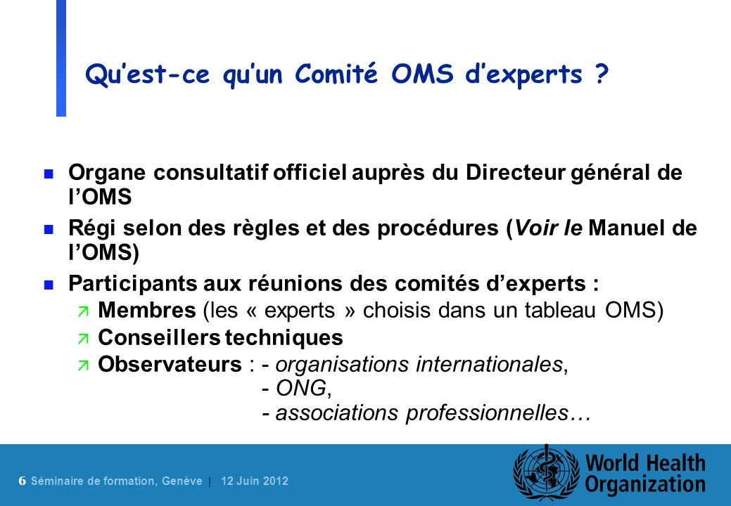 Qu'est-ce qu'un Comité OMS d'experts