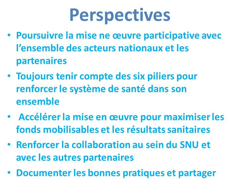 Perspectives Poursuivre la mise ne œuvre participative avec l'ensemble des acteurs nationaux et les partenaires.