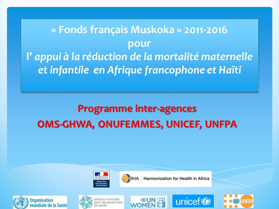 Programme inter-agences OMS-GHWA, ONUFEMMES, UNICEF, UNFPA