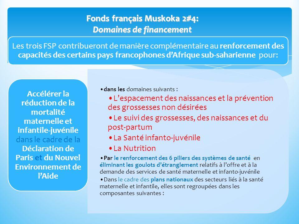 Fonds français Muskoka 2#4: Domaines de financement