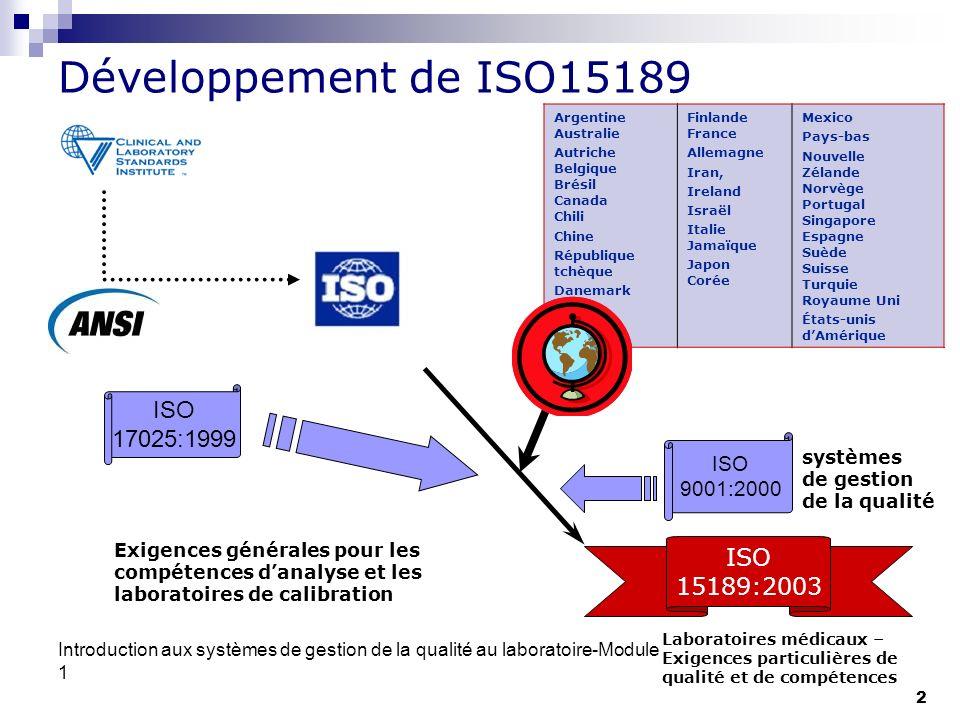 Développement de ISO15189 ISO 17025:1999 ISO 15189:2003 ISO 9001:2000