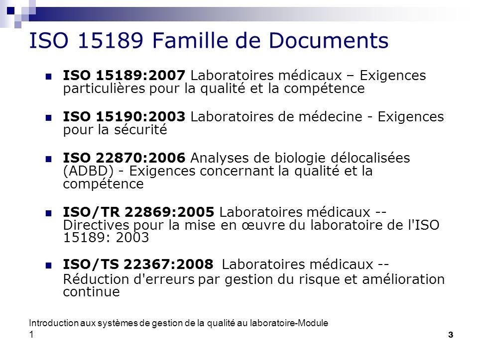 ISO 15189 Famille de Documents
