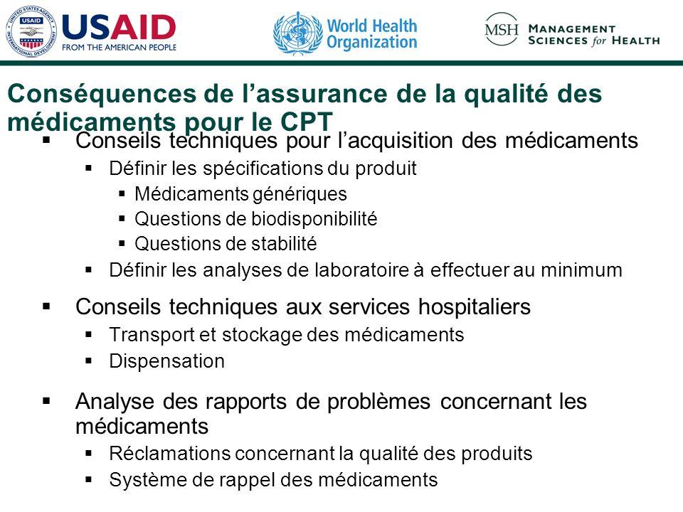 Conséquences de l'assurance de la qualité des médicaments pour le CPT
