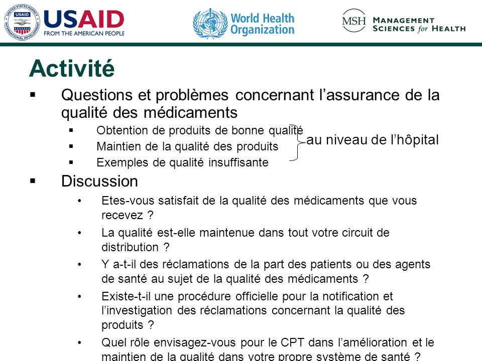ActivitéQuestions et problèmes concernant l'assurance de la qualité des médicaments. Obtention de produits de bonne qualité.