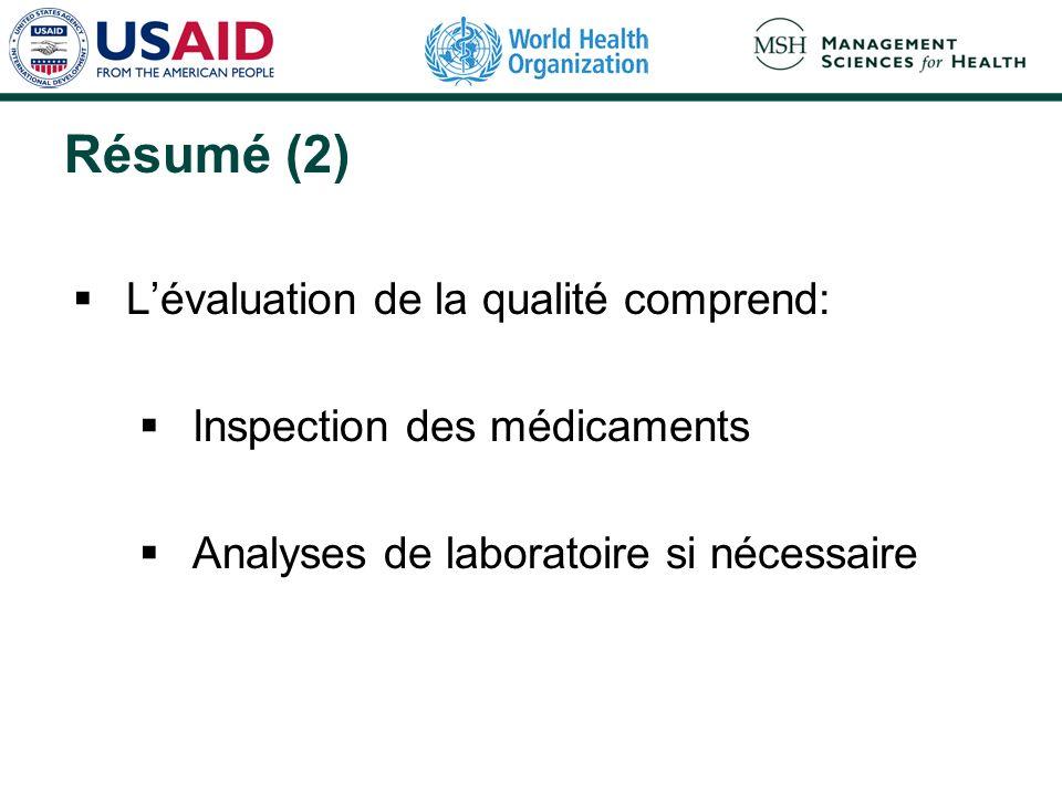 Résumé (2) L'évaluation de la qualité comprend: