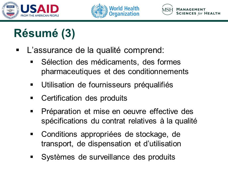 Résumé (3) L'assurance de la qualité comprend: