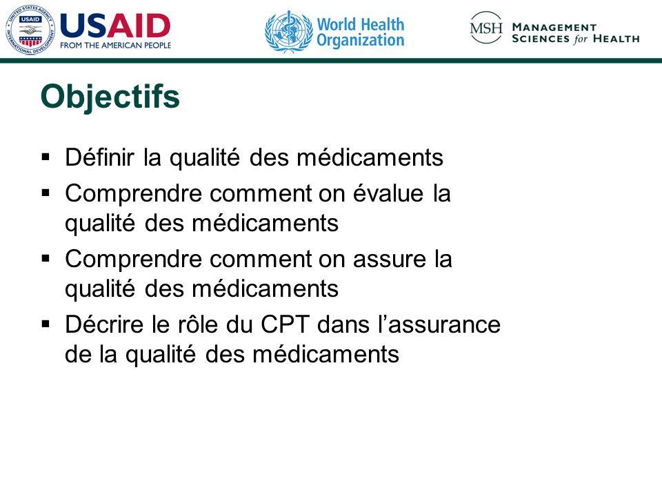 Objectifs Définir la qualité des médicaments