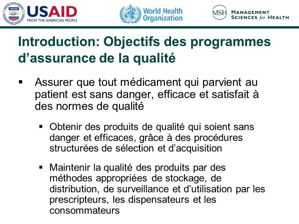 Introduction: Objectifs des programmes d'assurance de la qualité