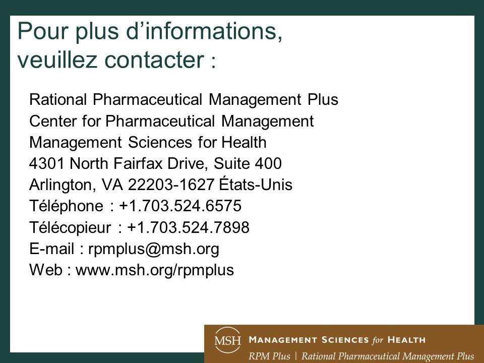 Pour plus d'informations, veuillez contacter :