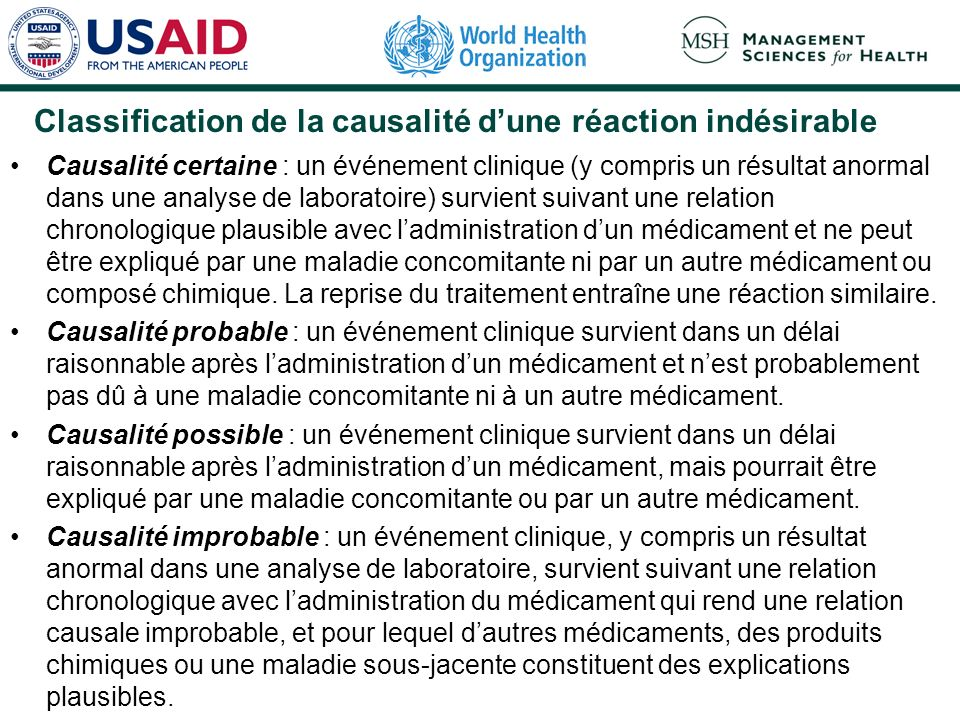 Classification de la causalité d'une réaction indésirable