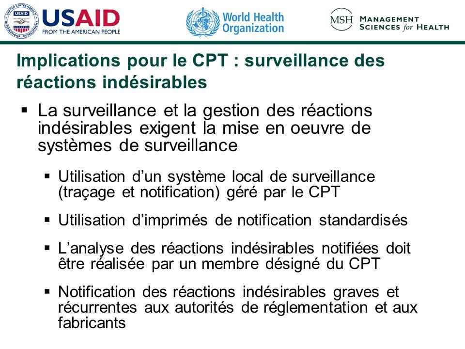 Implications pour le CPT : surveillance des réactions indésirables