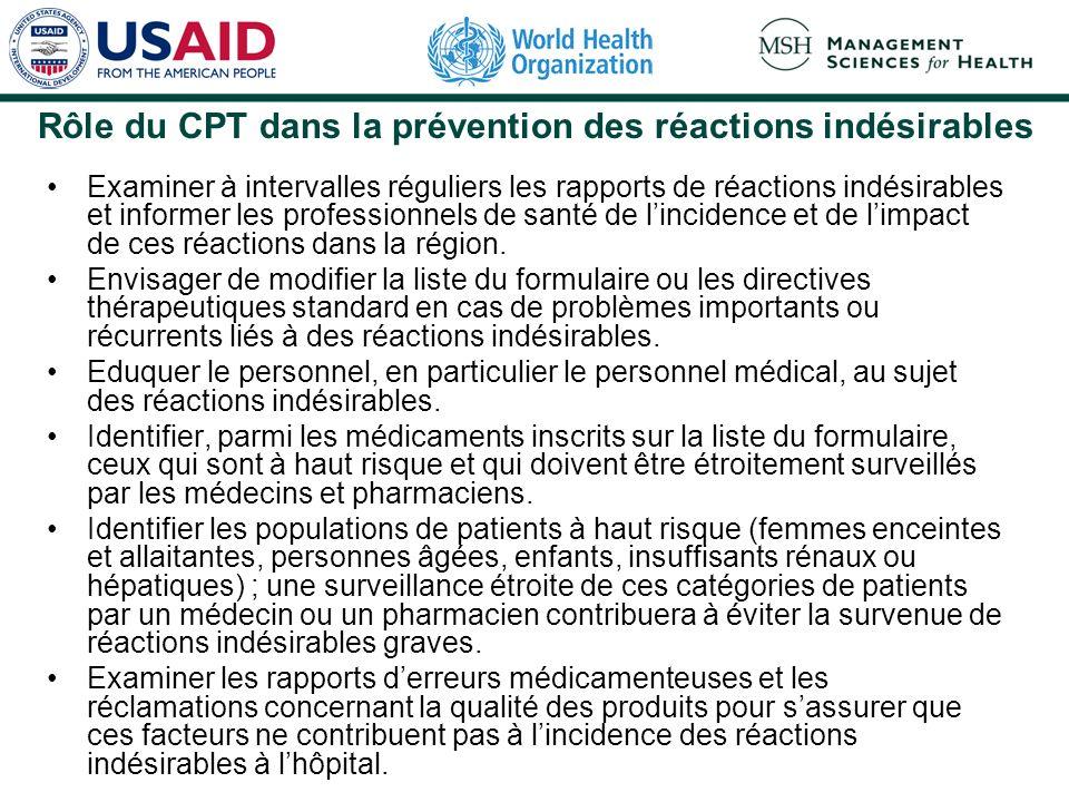 Rôle du CPT dans la prévention des réactions indésirables